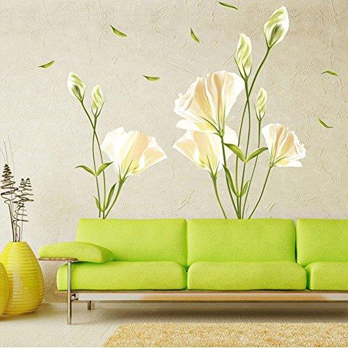 WandSticker4U- Wandtattoo Blumen CALLA LILIE in Weiß | Wandbilder: 135x97cm | Wandsticker Wand-aufkleber Blüten Pflanzen Blätter Garten | Deko für Wohnzimmer Schlafzimmer Küche Bad Fenster Flur GROSS