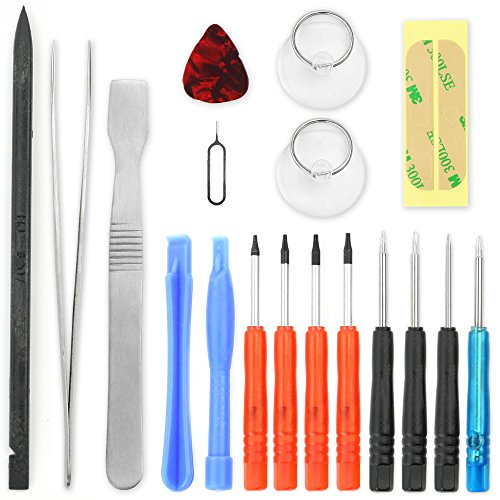 Handy Reparatur Werkzeug / Schraubendreher Set Kit 18 teilig für Akkuwechsel, Reparatur von Smartphone, Tablet, Notebook, Laptop (Macbook, iPhone, iPad, Samsung Galaxy Tab / Note) Torx Akkutausch TS1 TS4 Pentalobe