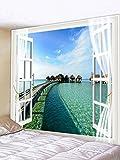 QGUATAN Wandbehang Tapisserie Tapisserie hängt Nordisch mit Schlafzimmer lässige Mode Tapisserie Wandbehänge, Fenster Meerblick, 150cm & Zeiten; 130cm