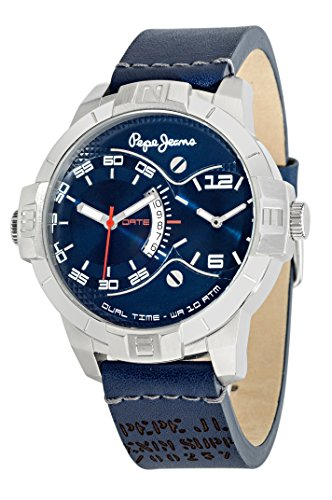 Pepe Jeans Carrie Men's Quartz Watch with Blue Dial Analogue Display and Silver Stainless Steel Strap R2353102511