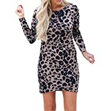 TIREOW Damen Sexy Rundhals Leopard Print Langes Hülsen Festes Kleid Elegante Herbst Winter Langarm Kleider Wickelkleid