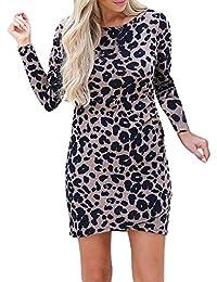 ASHOP Vestidos Mujer Casual Mini Vestido Ajustado con Estampado de Leopardo Vestir Elegantes Rockabilly Dress de