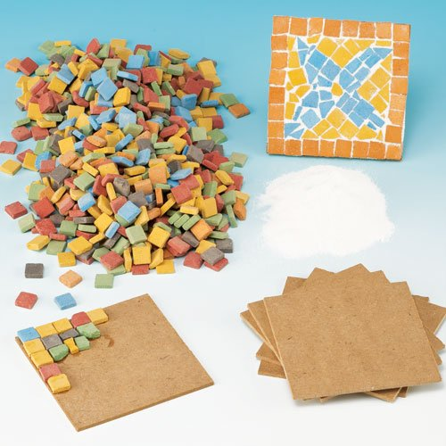 Baker Ross Mosaic Tile Coaster Kit for Children to Create and Display (Per kit)