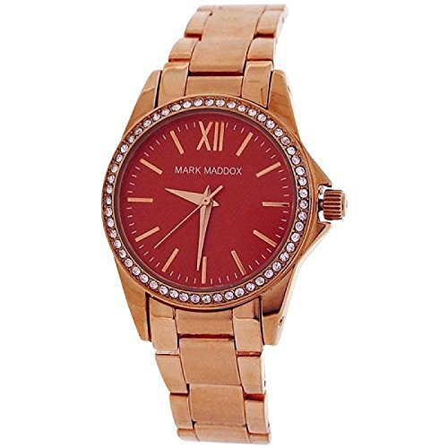 Mark Maddox Ladies Rhinestone Set Bezel Red Dial Bracelet Strap Watch MM3015-77 (Certified Refurbished)