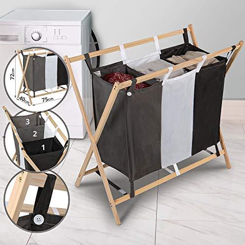 Jago Wäschesortierer - mit 3 Fächern, aus Holz, dreifarbig, ca. 128 l Volumen, Größe (L/B/H): 85/43/81cm - Wäschekorb, Wäschebox, Wäschesammler