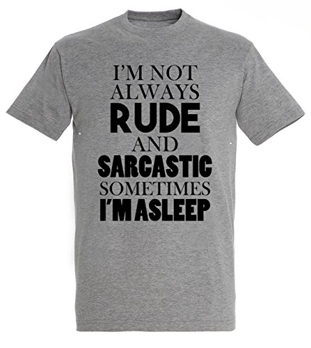 im-not-always-rude-and-sarcastic-sometimes-im-asleep-awesome-life-quote-design-tee-men-herren-grey-m