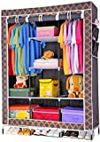Fancy and Portable Foldable Closet Wardrobe Cabinet Portable Multipurpose Clothes Closet Portable Wardrobe Storage Organizer with Shelves 3.5 Feet Folding Wardrobe Cupboard Almirah Foldable Storage Rack Collapsible Cabinet (Need to Be Assembled)