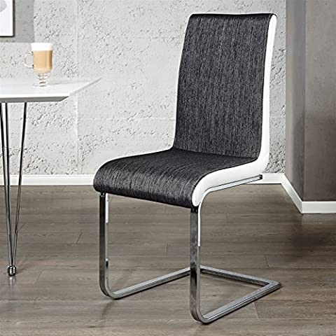 ELEGANT CANTILEVER CHAIR CONTRASTO dining room chair kitchen chair from Xtradefactory anthracite-black / white by DESIGN DELIGHTS