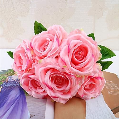 Yazidan 1 Bouquet Vintage Künstliche Rose Seidenblumen Bouquet zur Dekoration Hochzeitsblumenstrauß für Haus Garten Pfingstrose Floral künstliche Seide Brautstrauß Hochzeitsfeier Home Decor
