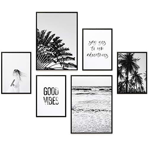 Heimlich® Premium Poster Set | Stilvolles Set mit passenden Bilder als Wohnzimmer Deko | 2 x DIN A3 & 4 x DIN A4 - ca. 30x40 & 20x30 | ohne Bilderrahmen » Good Vibes «