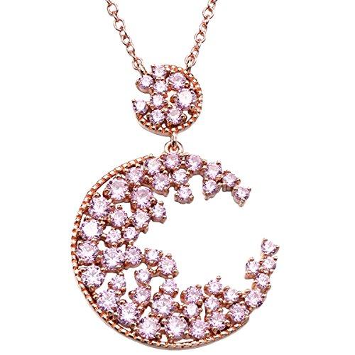 LF Collana rosa ciondolo zircone elegante per creare una moda aragosta collana del catenaccio di inviare la sua