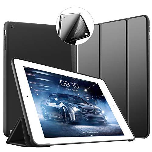 iPad 2 3 4 Hülle -VAGHVEO Ultradünne Leichtgewicht Trifold Ständer Schutzhülle [Auto aufwachen/Schlaf] Smart Cover mit Weicher TPU Rückseite für Apple iPad 2 /iPad 3 /iPad 4 Retina (Schwarz)