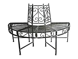 Panchina da giardino con panca tavolo intorno ad un albero for Panchina ferro battuto amazon