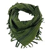 Tactical Desert Scarf Wrap, Fozela 100% coton Shemagh militaire Keffieh Écharpe Neck Head Wrap pour hommes et femmes (Vert-Green)