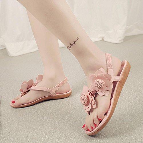 Saingace Frauen Bohemia Freizeit Sandalen mit Blume Flip Flops flache Schuhe Rosa