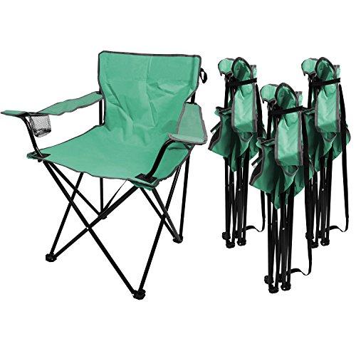 Multistore 2002 4 Stück Campingstuhl inkl. Getränkehalter, in 4 Farben erhältlich, tragbar, faltbar, Garten Balkon Strand Klappstuhl Faltstuhl, Farbe:Türkis