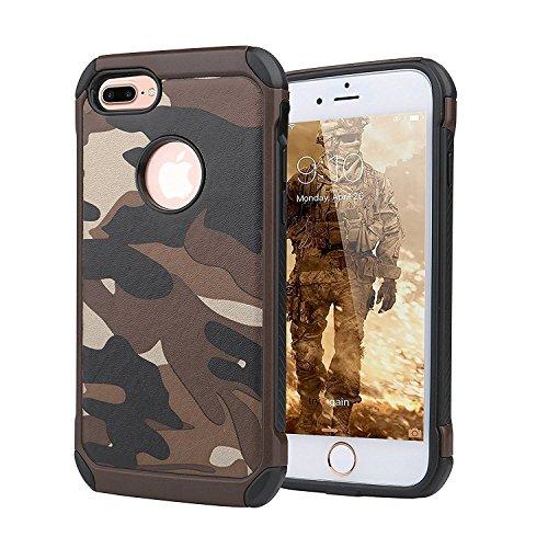iPhone 7 Plus Coque, Lantier Motif Armée Fashion Camo Camouflage antidétonantes antichoc double couche Armure hybride de protection de couverture pour Apple iPhone 7 Plus (5,5 pouces) Bleu Camouflage Brown