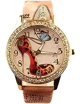 Sanwood Armbanduhr für Damen, mit Strasssteinen, Motiv: High Heel / Schuh