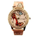 Sanwood Womens Rhinestone High-Heeled Shoe Wrist Watch (Type 3)