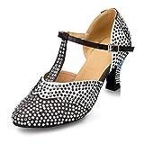 Honeystore Neuheiten Frauen's Strass Heels Absatzschuhe Moderne Latein-Schuhe mit Knöchelriemen Tanzschuhe LD039 Schwarz 35 CN