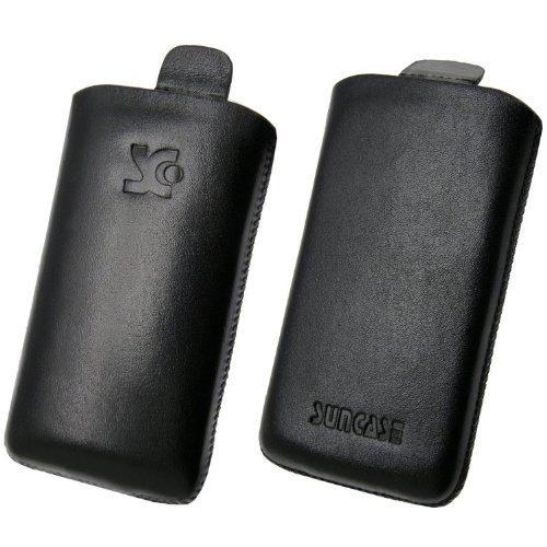 Original Suncase Echt Ledertasche (Lasche mit Rückzugfunktion) für Samsung Wave 723 GT-S7230 in schwarz