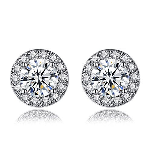 Price comparison product image Abeillo Ladies Earrings White Zirconia Cushion Shaped Halo Stud Earrings 925 Sterling Silver Earrings For Ladies