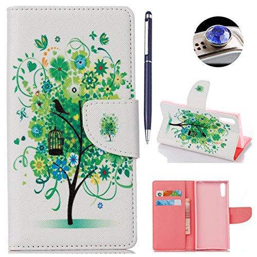 AyiHuan Sony Xperia XZ (5,2 Zoll) hülle, Folio PU Leder Flip Cover Wallet Hardcase im Bookstyle mit Standfunktion Karteneinschub und Magnetverschluß Etui für Sony Xperia XZ, Bäume