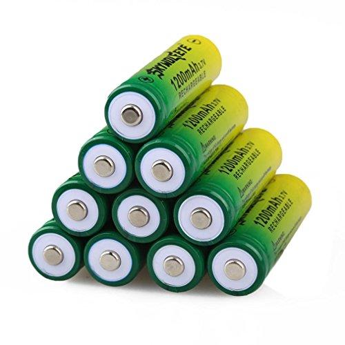 10 Stücke 14500 BRC Wiederaufladbare Batterie, Siswong SKYWOLFEYE 1200mAH Li-ion 3.7V Batterie Für LED Taschenlampe Lampe Fackel (Wohnwagen Für Dummies)
