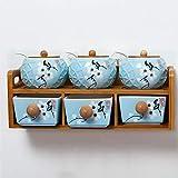 CWLLWC Gewürzbox,Küche Keramik Gewürz Vorratsbehälter mit Palettenregal Kombinationsfeld würzen