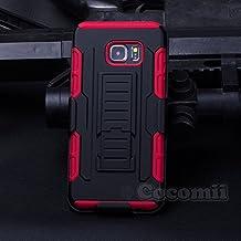 Galaxy S6 Edge Plus Carcasa, Cocomii® [HEAVY DUTY] Galaxy S6 Edge Plus Robot Case **NUEVO** [ULTRA FUTURO ARMOR] Premium Funda Con Clip Para Cinturón Pata De Cabra Kickstand Bumper Case [DEFENSOR MILITAR] De Todo El Cuerpo Híbrido Doble Capa Resistente Cubierta Protectora Cover Bumper Case [COCOMII GARANTÍA] ::: La Mejor Protección Frente A Caídas Y Las Repercusiones De Su Samsung Galaxy S6 Edge Plus ::: ★★★★★ (Black/Red)