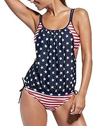 Ninimour Damen Tankini Bikini Set Streifen zweiteilig Badeanzug Swimsuit