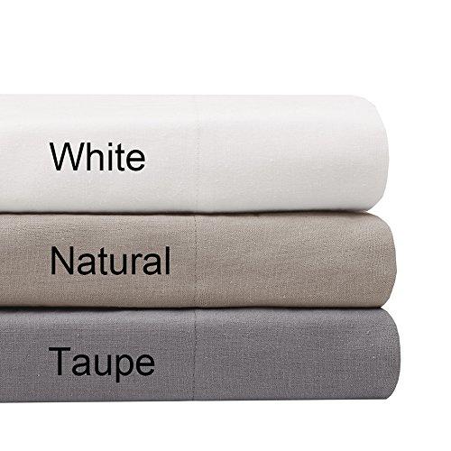Madison Park Signature Mischgewebe Baumwolle Leinen-Bettlaken-Set, weiß, Queen