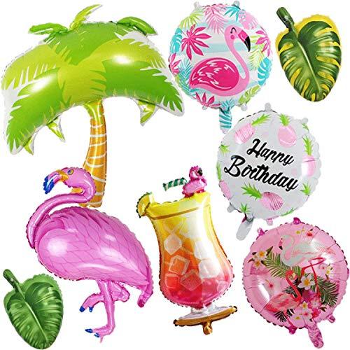 Mishiner 8 Stück Flamingos Thema Party Folienballons Kit, Palm Tree Dekorationen Folienballons für Summer Beach Hawaii Luau Party Supplies