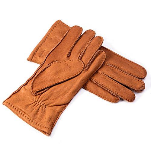 YISEVEN Herren Lederhandschuhe aus Hischleder Handgenäht mit Kaschmir gefüttert Elegant Winter Warm Leder Autofahrer Handschuhe, Cognac XL/10.0