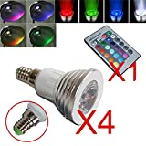 OUEVA Pack of 4 16 Color Led E14 Bulb Light 3W RGB Light Bright Energy Saving With Remote