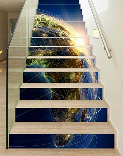 Der Karte Laminierte Welt (3D Treppenaufkleber Set 18cm x 100cm Erde Welt Karte Flugroute Afrika Aufkleber Treppe selbstklebend Treppenhaus Bodenaufkleber wasserdicht Flur B1T073, Anzahl Stufen:13 Stufen)