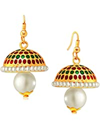 Spargz Traditional Hanging Gold Plaint Pretty Jhumki Earrings For Women AIER 645