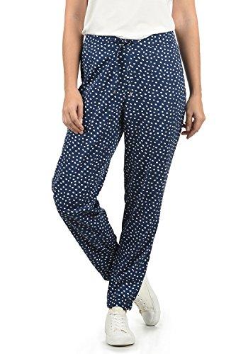 BlendShe Amerika Damen Stoffhose Lange Hose Bequeme Loose Fit Hose, Größe:XL, Farbe:Peacoat dot (14021)