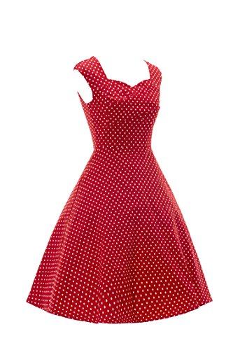 ILover 40s 50s 60s Retro vintage Rockabilly kleid Hepburn Stil Partykleid  Cocktailkleid 50er Jahr Abendkleid rote Punkte