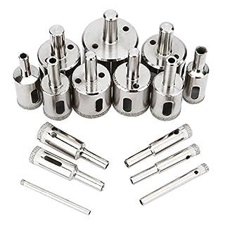 aiskaer 10PCS Diamant-Werkzeug Bohrer Bit Lochsäge Set für Glas Keramik Marmor von 3–21mm Durchmesser