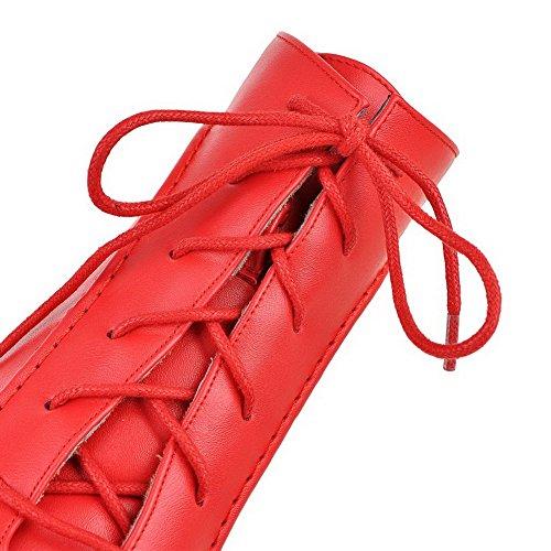 AllhqFashion Femme Zip à Talon Haut Pu Cuir Couleur Unie Haut Bas Bottes Rouge