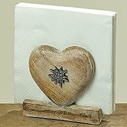 Servilletero en forma de corazón de madera de mango H 12CM