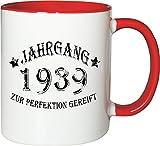Mister Merchandise Becher Tasse Jahrgang 1939 zur Perfektion Gereift Kaffee Kaffeetasse liebevoll Bedruckt Aged to Perfection Geburtsjahr Weiß-Rot