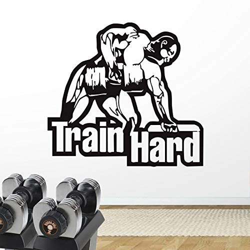 zxddzl Auto Gym Sticker Fitness Dumbbell Decal Body-Building Poster Vinyl Stickers Murali Manubri Parede Decor Murale Palestra Sticker-58x54cm
