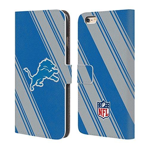 Ufficiale NFL Marmo 2017/18 Detroit Lions Cover a portafoglio in pelle per Apple iPhone 6 Plus / 6s Plus Righe