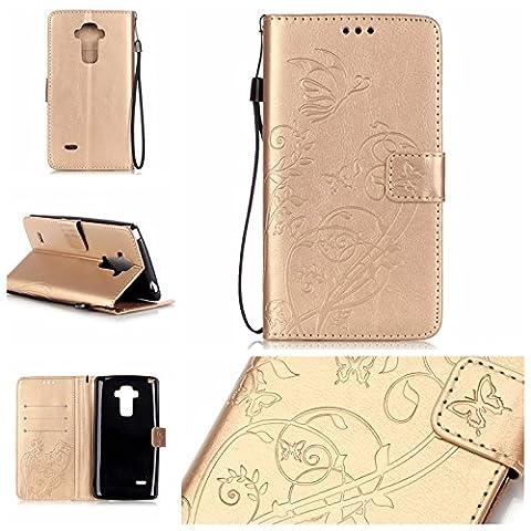Coque pour LG G Stylo/ LG G4 Stylus/LS770,Housse en cuir pour LG G Stylo/ LG G4 Stylus/LS770,Ecoway Colorful imprimé étui en cuir PU Cuir Flip Magnétique Portefeuille Etui Housse de Protection Coque Étui Case Cover avec Stand Support Avec des Cartes de Crédit Slot et Fonction Support pour LG G Stylo/ LG G4 Stylus/LS770 – Golden Butterfly Imprimer