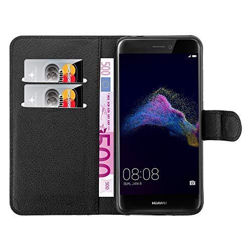 mangao Huawei P8 lite 2017 Hülle, Hochwertige Flip Case Tasche aus Premium Leder, schwarz mit Magnetverschluss Handyhüllen