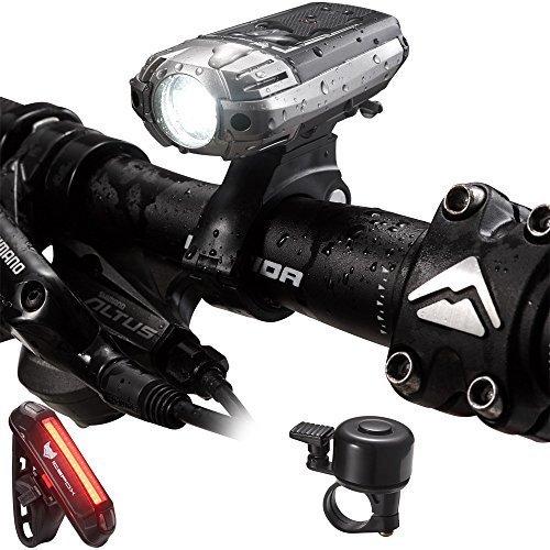 LED illuminazione bicicletta Set, Icefox STVZO Zug elassene USB ricaricabile impermeabile luce frontale luce posteriore per bicicletta con Super luminosi 4modi luminosi (con Bell), black