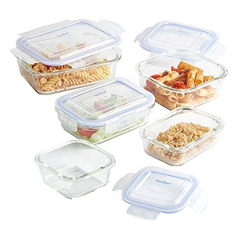 VonShef Set de 5 boîtes alimentaires en Verre avec couvercles hermétiques