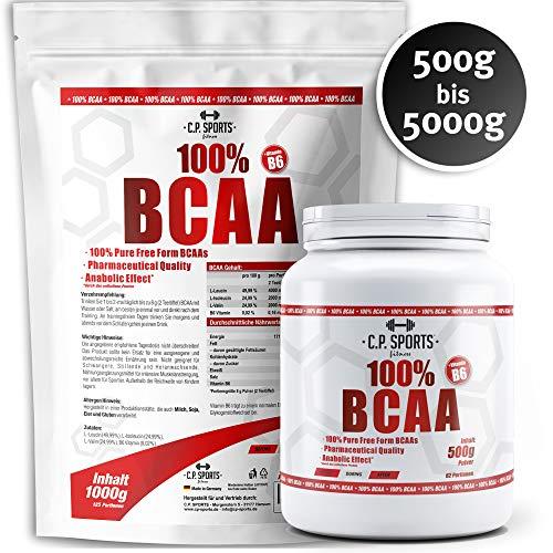 C.P. Sports BCAA mit Vitamin B6-100{e7176727f4b9db701d867a492a0c3e09c45544c8cfd1c1617ffa78d2145edcbc} reines Pulver im Verhältnis 2:1:1 hergestellt in Deutschland, Geschmacksneutral/vegan (1000g)